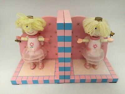 "2 x Pale Pink Fairy Princess Wooden Bookends Girls Bedroom 7"" Tall #CF #GA986"
