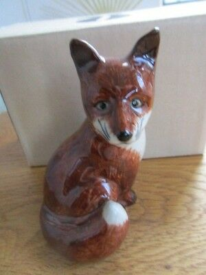 Lovely Ceramic Figurine of a Fox By Quail Pottery Boxed