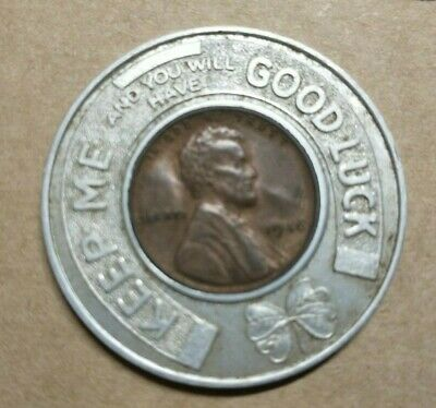 """1946 GOOD LUCK Advertising PENNY Token RED GOOSE SHOES """"NEVER BROKE"""""""