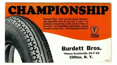 "FIRESTONE TIRES, ""CHAMPIONSHIP"" Advertising Ink Blotter (Auto Racing Tires)"