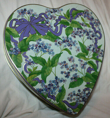 Vintage Blue & Purple Lilac & Ribbon Heart Shaped Tin Made in England
