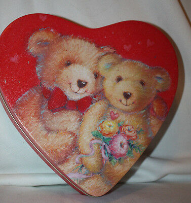 Gibson Greetings 1995 Red Heart Shaped Teddy Bear Valentines Decorative Tin
