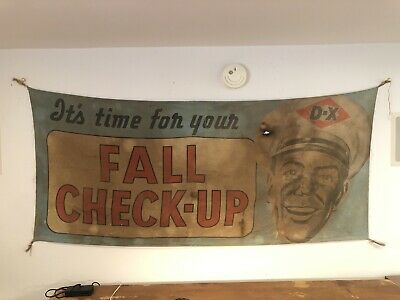 Original 6' X 3' DX Gas Oil Banner Sign Service Station Fall Check
