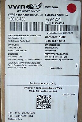 1000 VWR 1.2mL Cryogenic Self-Standing Vials & Caps 1018-738