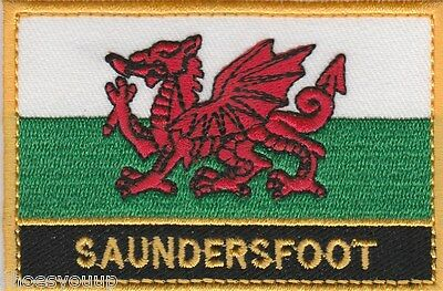 Saundersfoot Wales Cymru Town & City Embroidered Sew on Patch Badge