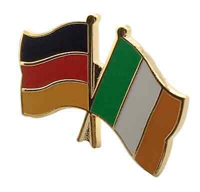 Germany & Ireland Friendship Flags Gold Plated Enamel Lapel Pin Badge