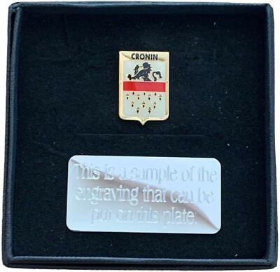 Personalised Gift Box & Family Clan Crested CRONIN Lapel pin badge