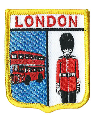 London Bus And Guard Flag World Embroidered Patch Badge