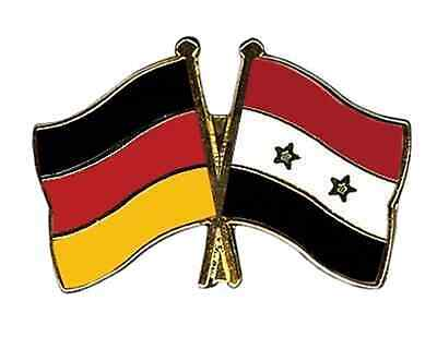 Germany & Syria Friendship Flags Gold Plated Enamel Lapel Pin Badge
