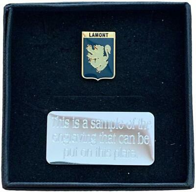 Personalised Gift Box & Family Clan Crested LAMONT Lapel pin badge