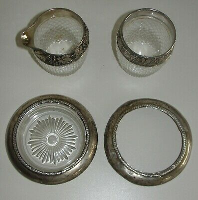 Lot 4 Antique Sterling Silver By Laben Cut Crystal Coaster Cup Mug Glass Auction