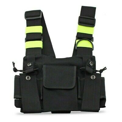 600D Oxford Cloth Black Radio Chest Harness Vest Front Pouch Replacement Parts