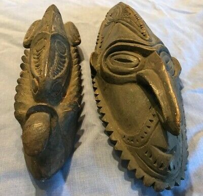Papua New Guinea Sepik area wooden masks (two)