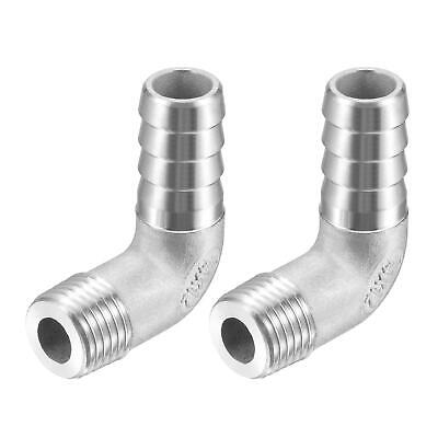 2pcs 304 Stainless Steel Hose Barb Fitting Elbow 12mm x G1/4 Male Pipe Connector