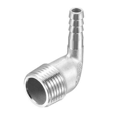 304 Stainless Steel Hose Barb Fitting Elbow 8mm x G1/2 Male Pipe Connector