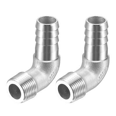 2pcs 304 Stainless Steel Hose Barb Fitting Elbow 14mm x G3/8 Male Pipe Connector