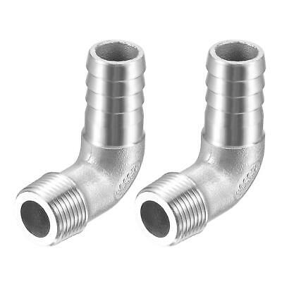 2pcs 304 Stainless Steel Hose Barb Fitting Elbow 15mm x G3/8 Male Pipe Connector