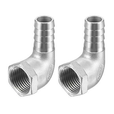 2pc Stainless Steel Hose Barb Fitting Elbow 15mm x 1/2 NPT Female Pipe Connector