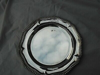 1840 stunning Silver dinner Plate by top maker R Sibley great Armorial crest 20o