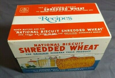 1973 Tin Box National Biscuit Shredded Wheat Recipe Vintage Nice Display Piece