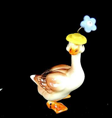 "Hagen Renaker Porcelain Goose In Hat With Flower Miniature 2 1/8"" Figurine"