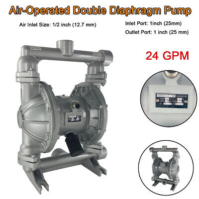 "24GPM Air-Operated Double Diaphragm Pump  115PSI, 1"" Inlet Outlet Industry Fluid"