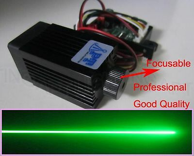 Focusable 12V 200mW 532nm green laser module continuous work / long life / TTL