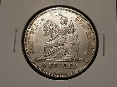 Guatemala Silver 4 Reales 1894, Nice Condition