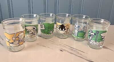 Vintage 1993/94 Welch's Jelly Jar Glasses Looney Tunes Set of 6 Tom Jerry Movie