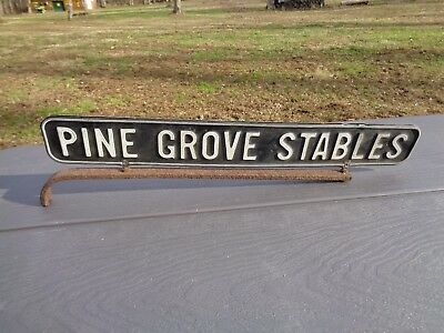 Rare Vintage 1920s-1940s PINE GROVE STABLES Metal Sign Horse Racing Double Sided