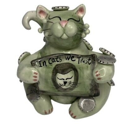 Annaco Creations 2002 WhimsiClay Cat By Amy Lacombe Figurine In Cat We Trust