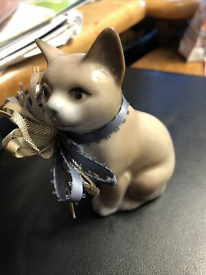 "Porcelain 4"" Tall Tan, White Cat Statue With Satin Bow Collar"