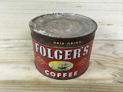 FOLGER'S COFFEE CAN Vintage Empty 1 lb Tin 50's, Rustic, Decorative Kitchen Deco