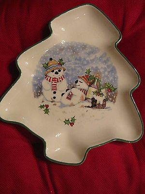 Royal Worcester Spode Palissy Christmas Tree Candy Nut dish with Snowman