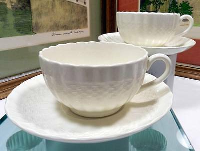 """2 Copeland Spode #C1890 Chelsea Wicker 2 1/8"""" Footed Cup & Saucer Sets 1954-2003"""