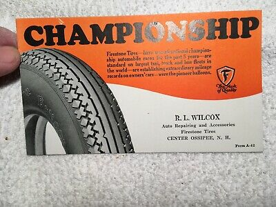 Original Firestone Tire Co. Championship Tires Blotter Car Truck Auto Gas Oil