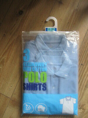 3 Blue Polo Shirts  Age 6 Years Height 116M New & Tag Marks  & Spencer Cotton