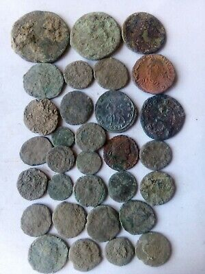 035.Lot of 30 Ancient Roman Bronze Coins,Uncleaned,74.4gr