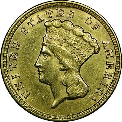 1854 $3 Princess Three Dollar Gold Piece AU near UNC BU rare old type coin money