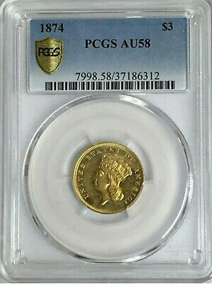 1874 $3 Gold PCGS AU-58 Gold Shield