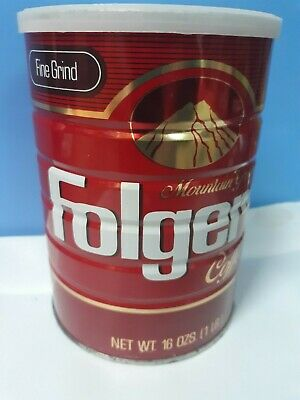 Vintage Folgers Coffee Can UNOPENED! 16 oz. Fine Grind 100% Pure Coffee