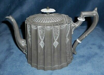 Antique Victorian Pewter Ornate Tea Pot Excellent Condition