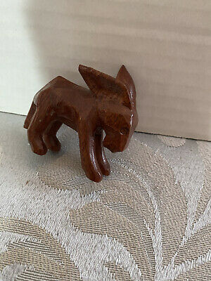 Rare Vintage Hand Carved Wooden Donkey Figurine