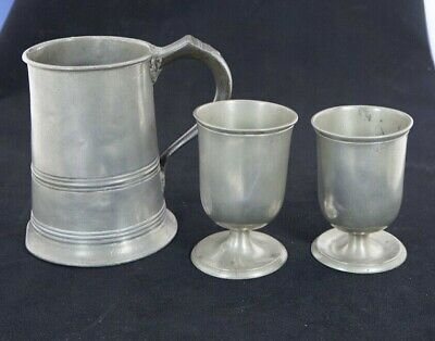 Antique Victorian Pewter Quart Tankard  LEITH 78, also Two 1/2 Pint Goblets