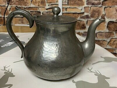 Rare Vintage McDowell Pewter Teapot, Engraved Celtic Design, Made in Belfast.