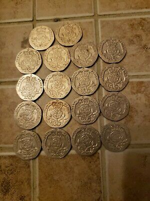 18 British 20 Pence Coins