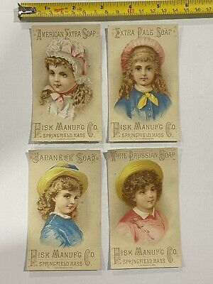 Lot of 4 Pisk Manufactur Co. Welcome Soap Victorian Trade Cards - Boston, Mass