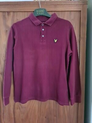 Boys Lyle & Scott Long Sleeve Polo Shirt In Burgundy - Age 10-11