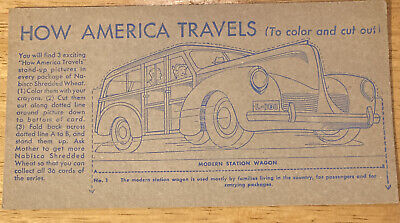 Nabisco Shredded Wheat How America Travels Moden Station Wagon Excellent Cond.