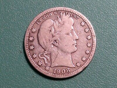 1908 O   BARBER QUARTER WITH FULL RIMS, Choice VG * FREE SHIPPING *